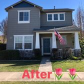 After exterior house painting